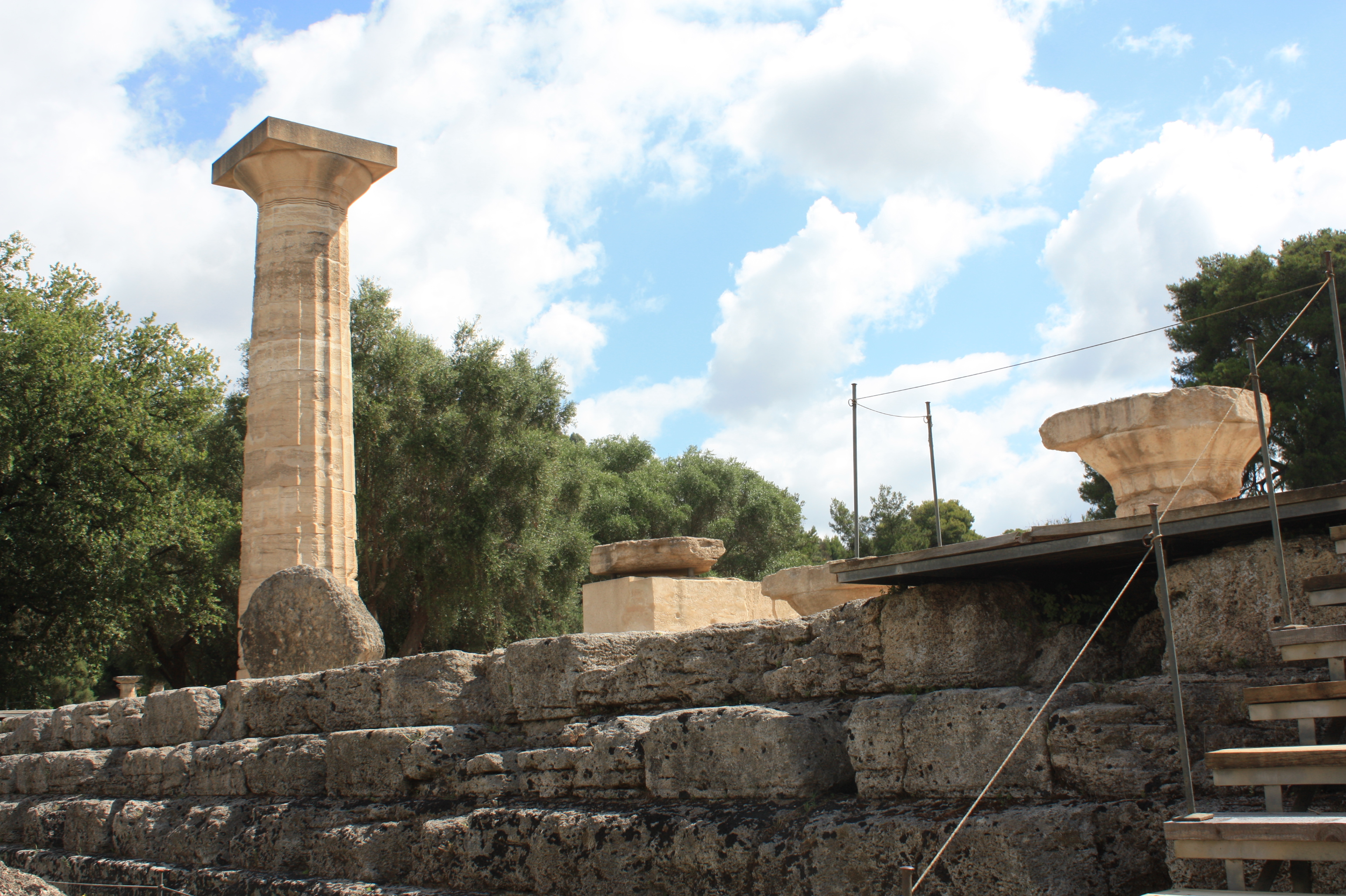 Ruins of the Temple of Zeus with reconstructed pillar