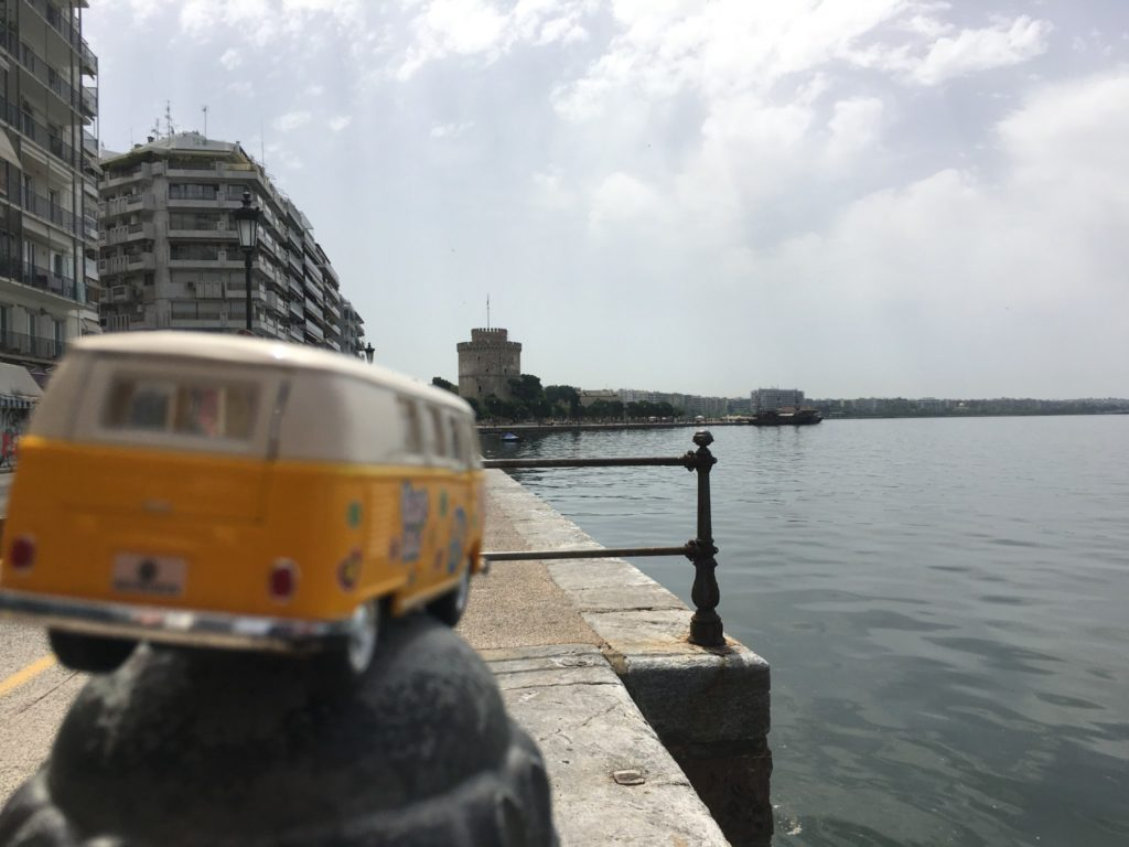 The yellow van looking down the Thessaloniki shoreline towards the White Tower