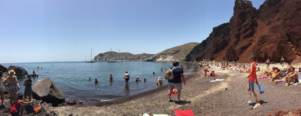 panorama of the red beach