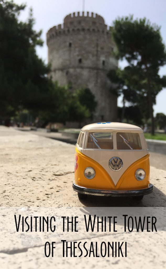 The yellow van outside the White Tower of Thessaloniki