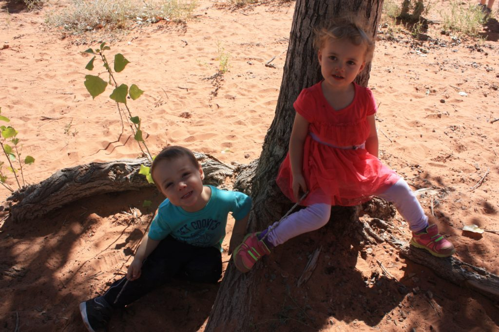 kids at the snow canyon sand dunes picnic area