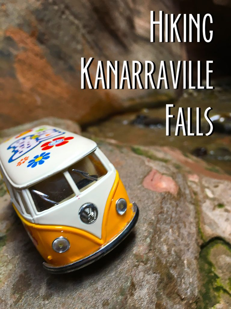 Picture of the yellow van on a rock displaying the title Hiking Kanarraville Falls