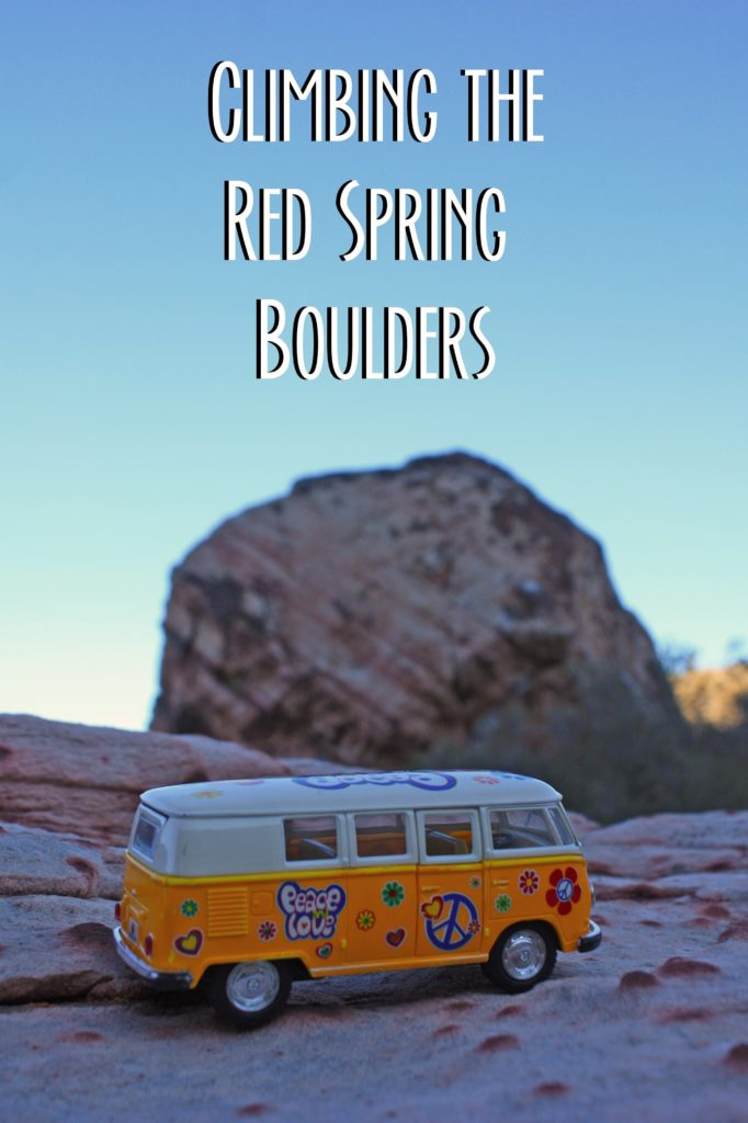 yellow van with rock in background and text: Climbing the Red Spring Boulders