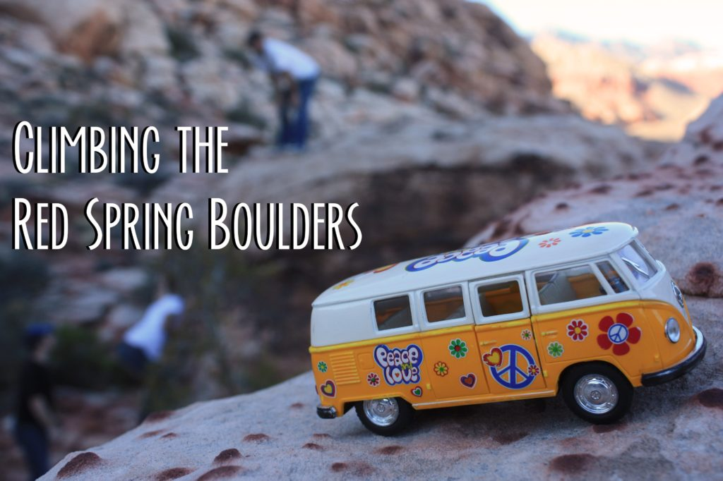 Yellow Van on a rock with climbers in the back ground and text: Climbing the Red Spring Boulders