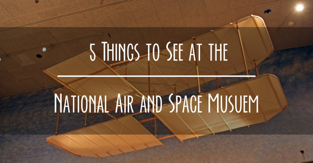 Title card says 5 things to see at the National Air and Space Museum. Shows a Wright brothers kite