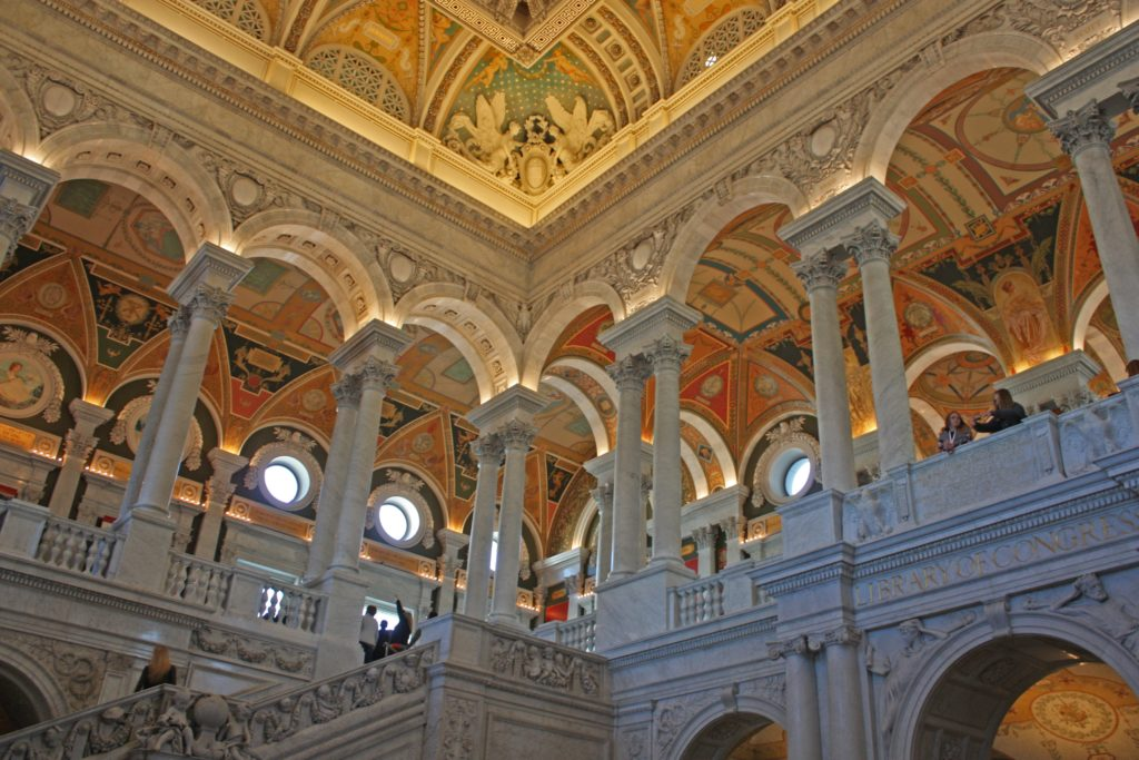 image of pillars and stairs inside the library of congress