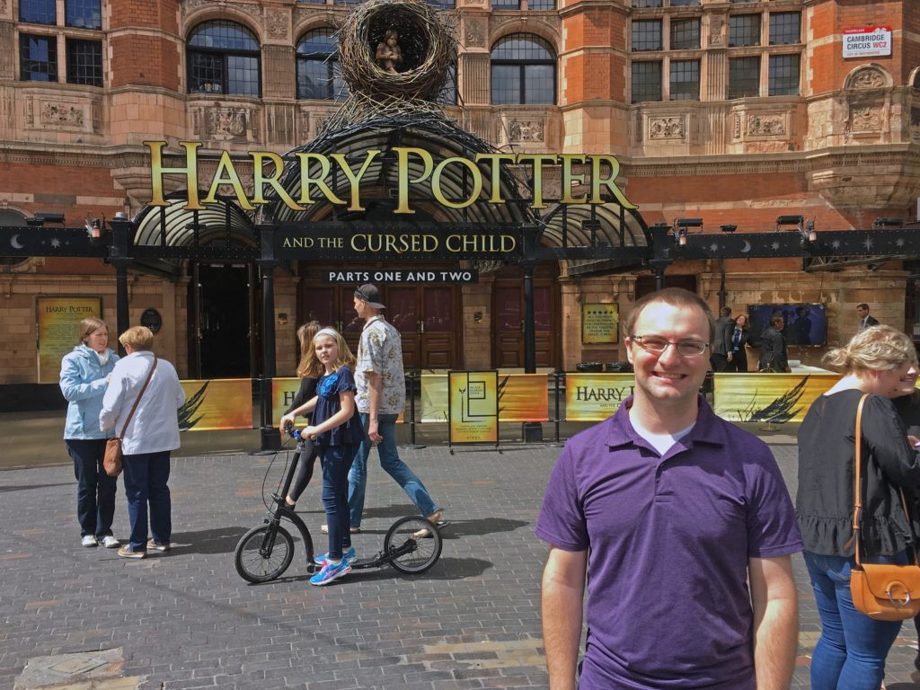 Ben with the Harry Potter and the Cursed Child sign