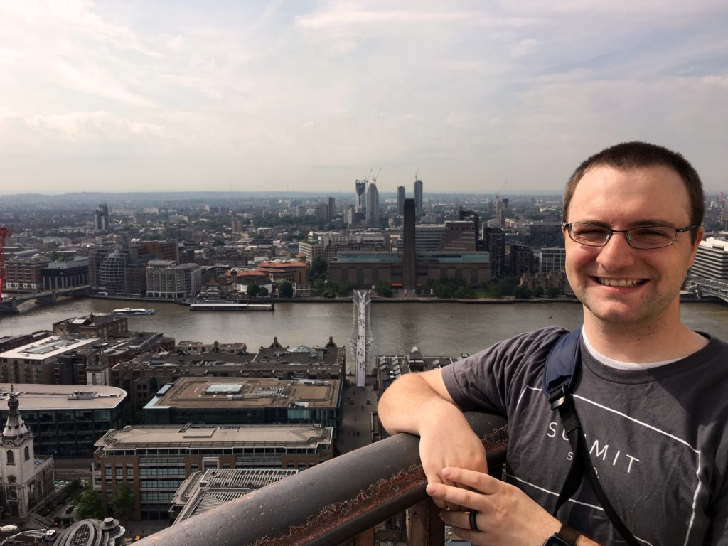 Ben with London skyline from top of St. Paul's Cathedral