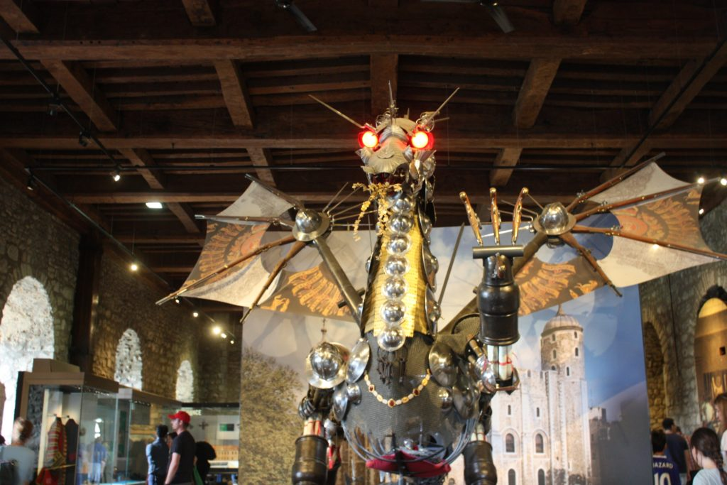A dragon made out of armor pieces at the White Tower