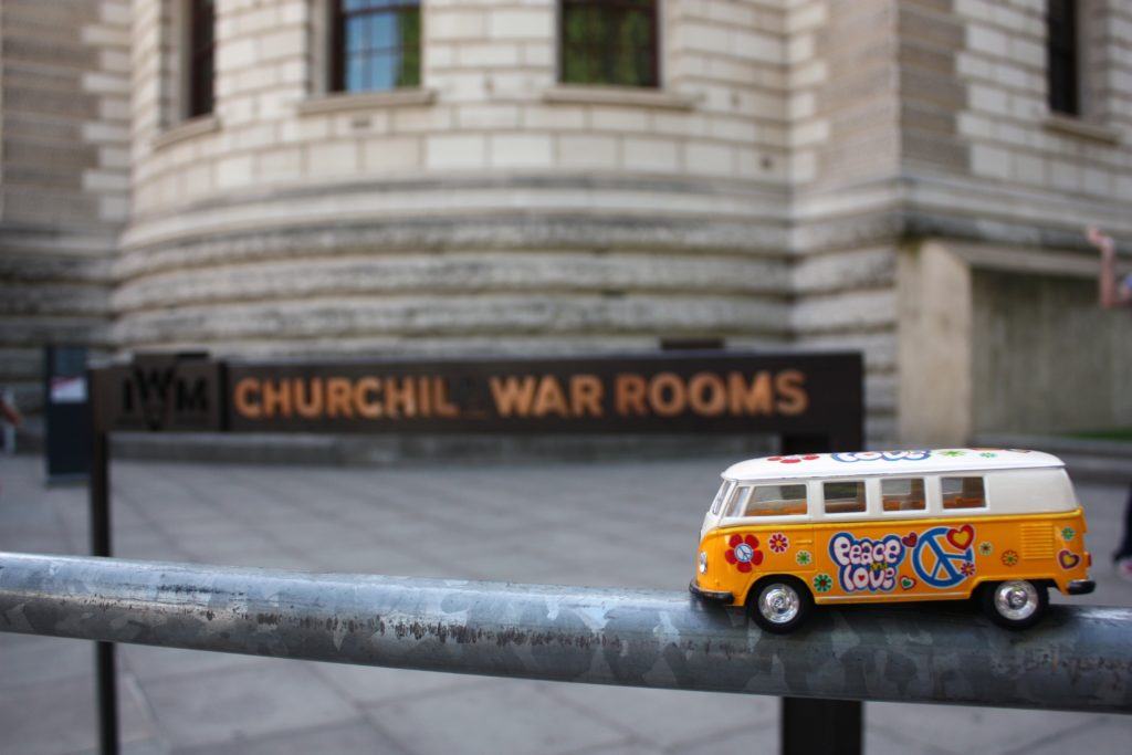 the yellow van with the Churchill War Rooms sign