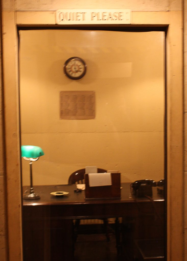 "Churchill's office, with the sign ""Quiet please"""