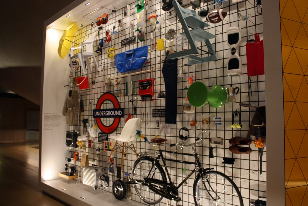 A wall of designed products