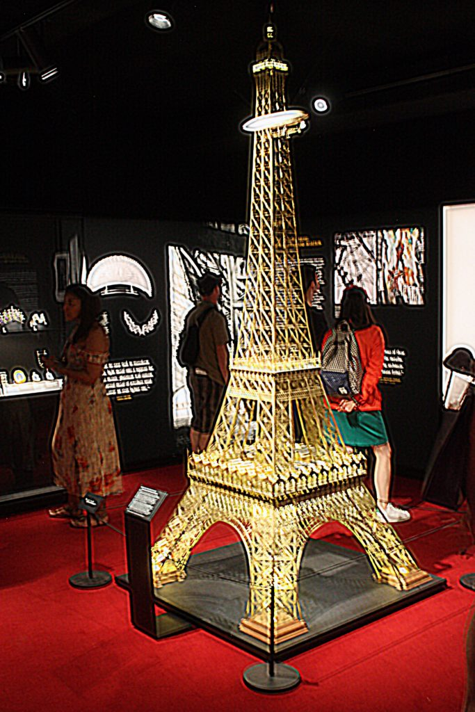 A model of the Eiffel Tower at the Design Museum in London