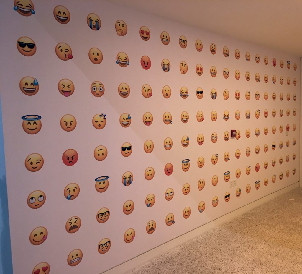 A wall of emoji at the Design Museum