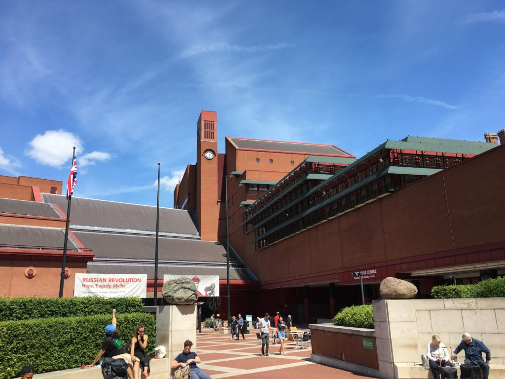 Outside the British Library