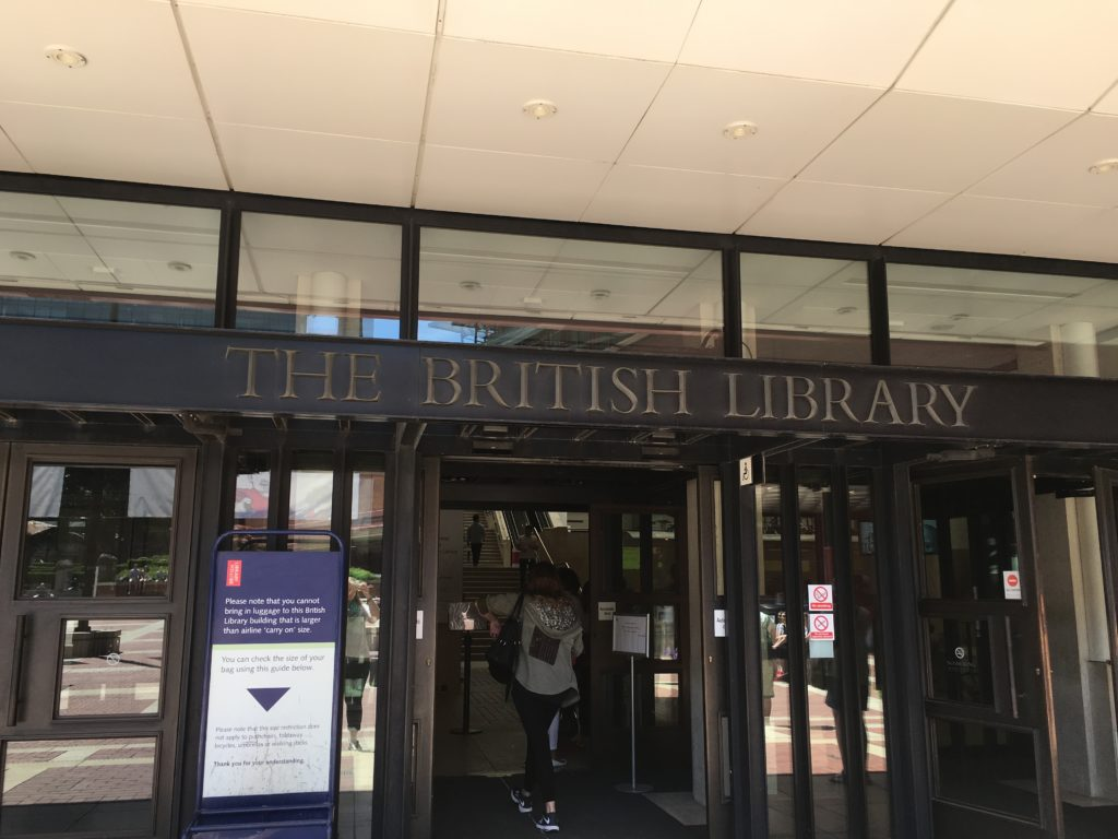 Sign over the British Library doors