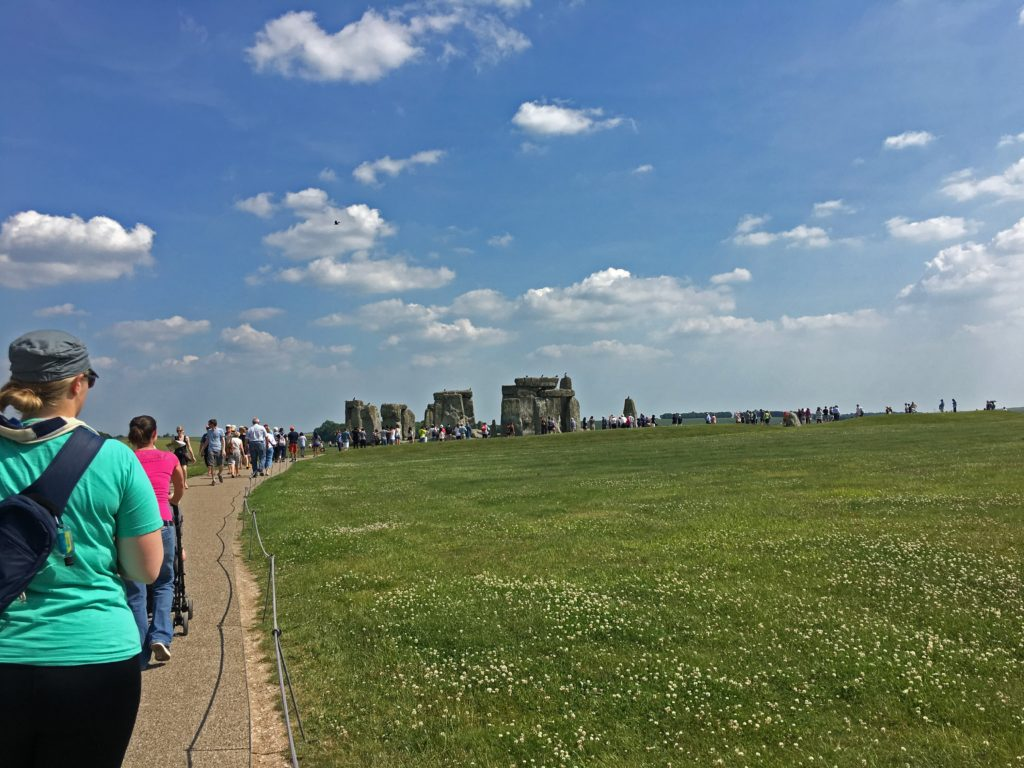 Picture showing the paved walkway leading to Stonehenge
