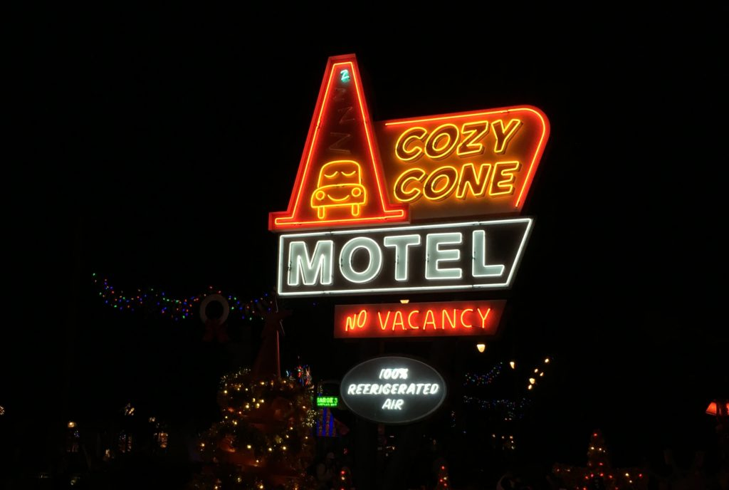 The neon sign for the Cozy Cone Motel in Cars Land