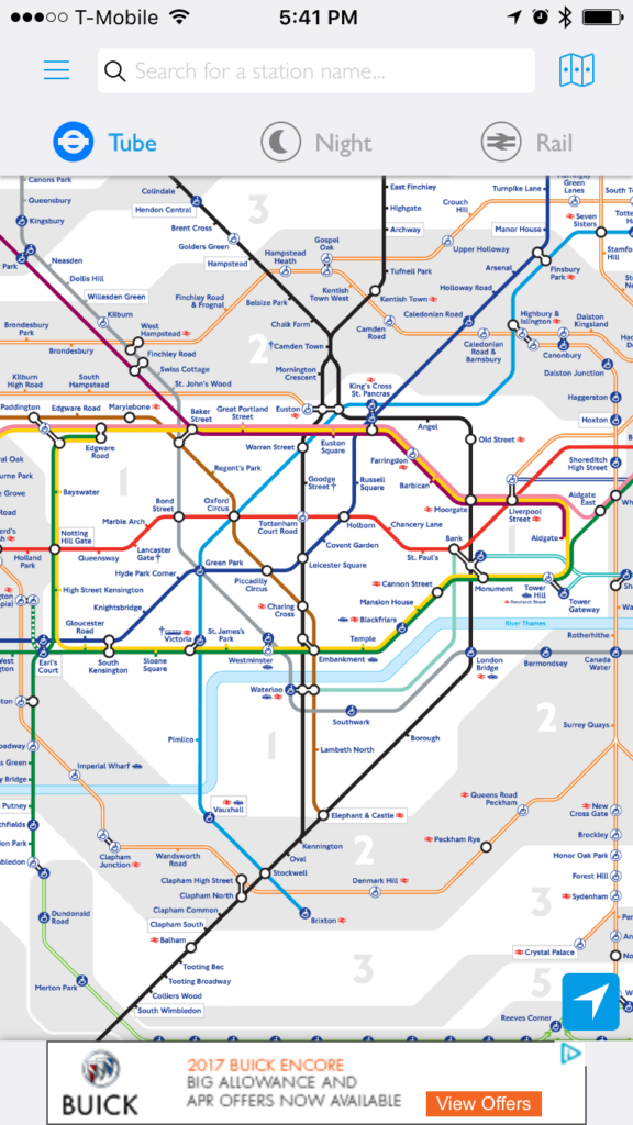 Tube Map from Tube Map App