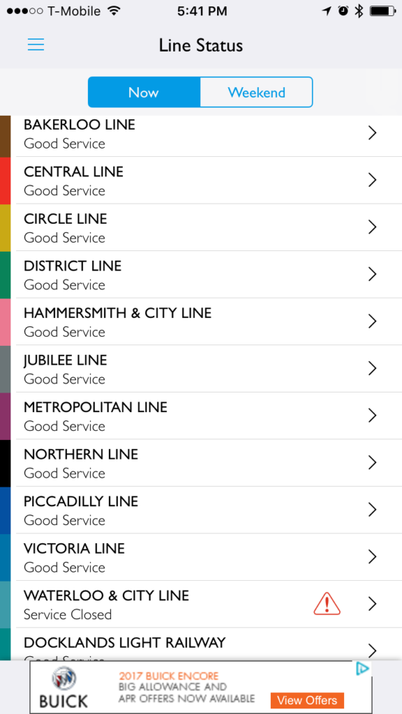 Line status view in Tube Map app