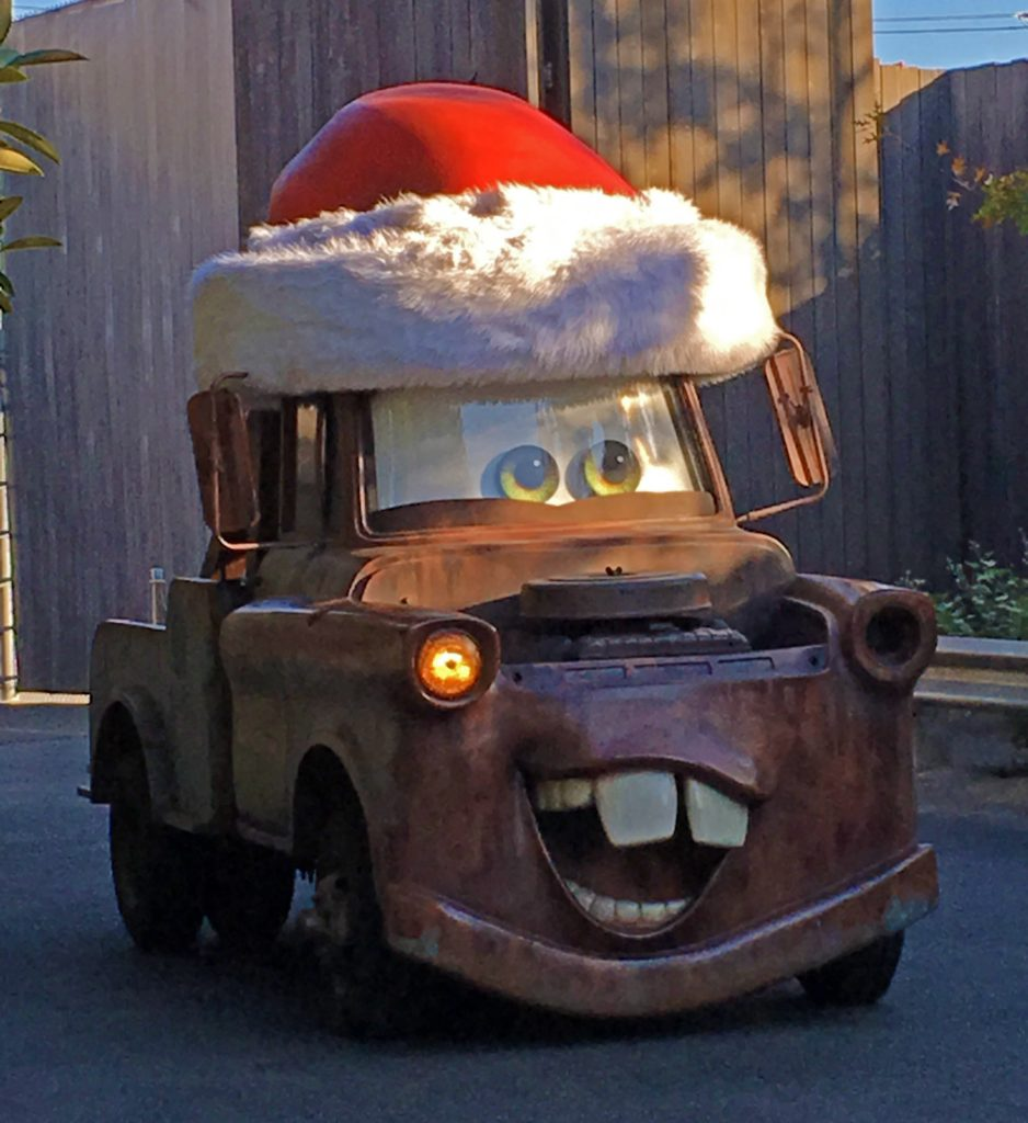Mater with a Santa Hat in Car's Land