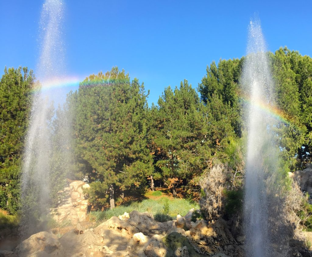 A rainbow across the geysers at Grizzly River Run