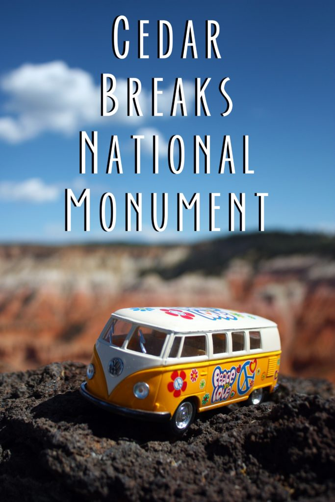 Pinterest card that says Cedar Breaks National Monument and shows the yellow van