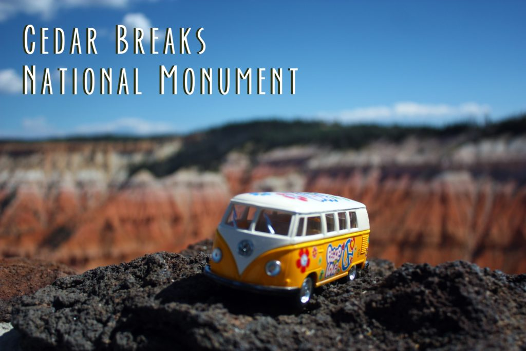 Title card that says Cedar Breaks National Monument and shows the yellow van