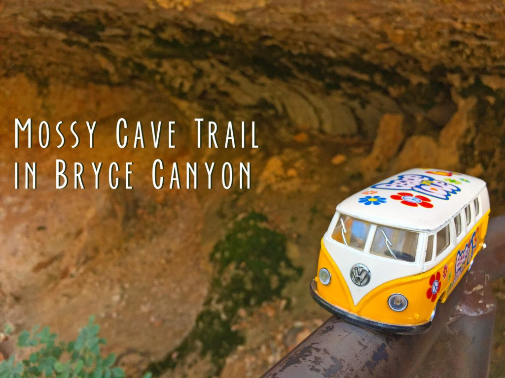 Title card showing the yellow van at the mossy cave in Bryce Canyon