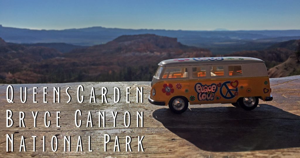 Title card showing the yellow van and saying Queens Garden Trail Bryce Canyon National Park