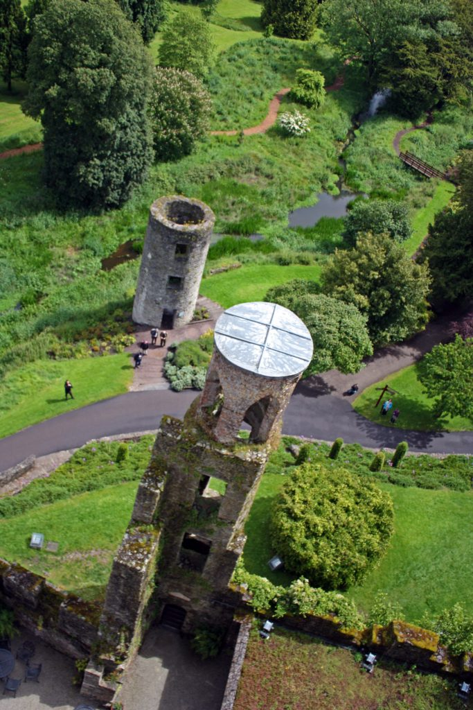 Looking down at a tower from the top of Blarney Castle