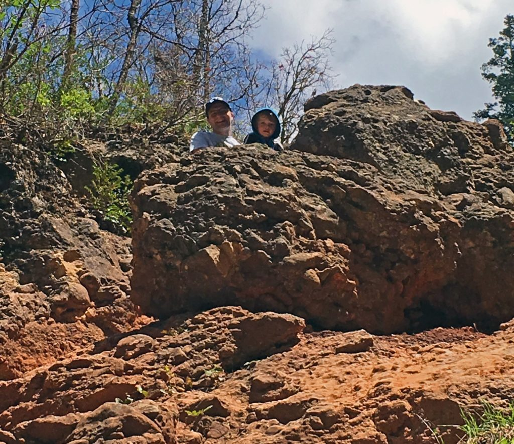 Ben and Nephew on a Rock at Grotto Falls
