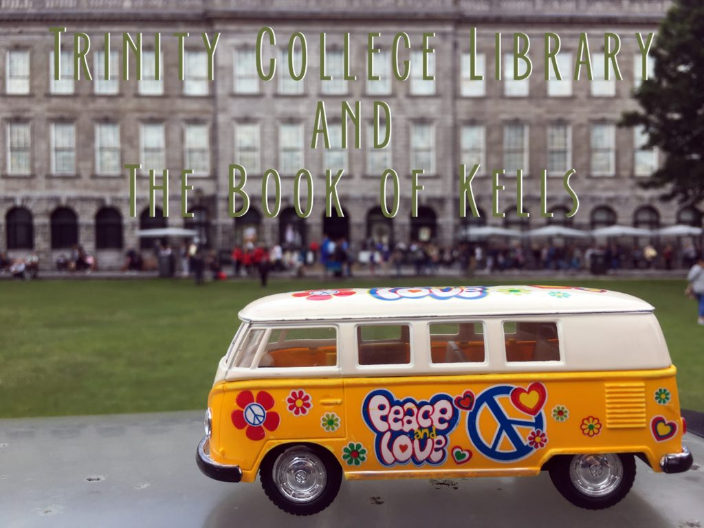 Book of Kells Title card showing the Yellow Van at Trinity College