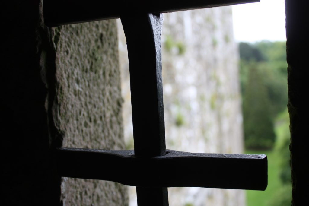 a window looking out from Blarney castle