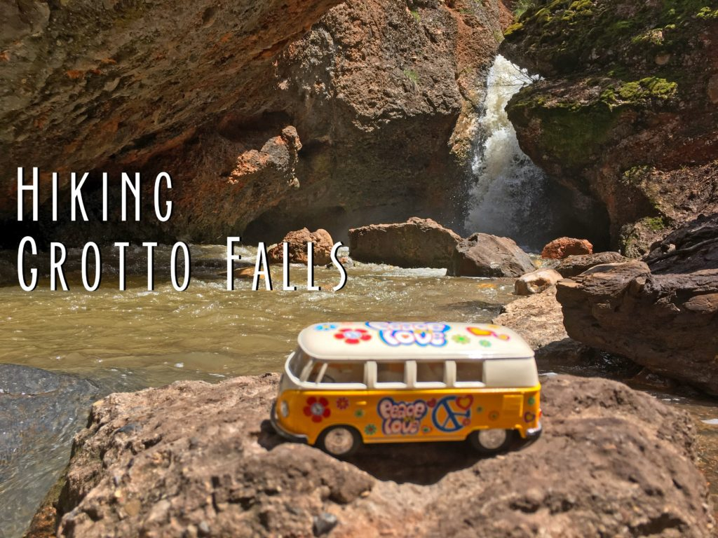 Title card showing Grotto Falls and Yellow Van